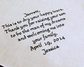 Custom Personalized Father of the Groom Handkerchief - Man Of My Dreams - Father In Law Gift - Embroidered Wedding Hankerchief - Hankies