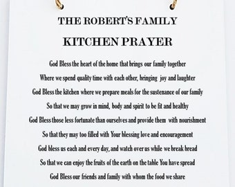 Personalised Home Kitchen Prayer Hanging Sign Plaque.