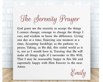 Serenity Prayer Ceramic Plaque. Personalised Gift.
