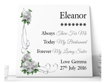 Sister Wedding Thank You Ceramic Plaque. Bridesmaid, Maid of Honour, Chief Bridesmaid.  Personalised