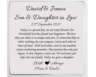 Son & Daughter in Law Wedding Day Personalised Glass Plaque