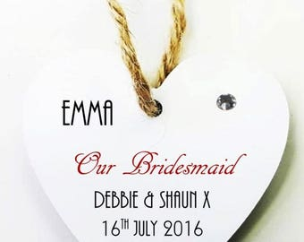 Bridal Party Personalised Heart Tag * Mini Plaque