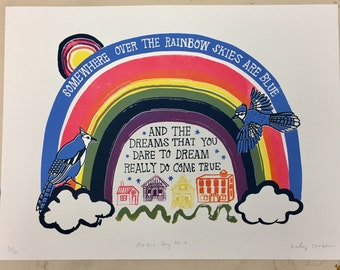 Maisie's Song No. 4 (Somewhere Over The Rainbow) Screen Print // Hand Printed Silkscreen Poster // ACLU exchange