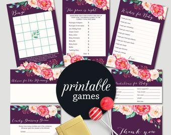 Floral Baby Shower Games, Printable Baby Shower Games Package, Girl Baby Shower Games, Pink Purple Boho Baby Shower games Pack Digital File