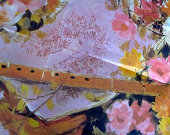Original 1950's 60's Gift Wrapping Paper music floral design Print drawing painting A. Govdon Fraser Wrapper Ref. W. P. 239