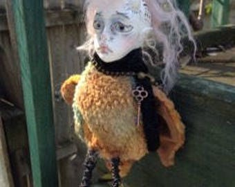 """Paperclay art doll """"Oliver the bird boy"""""""