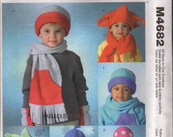 McCalls Pattern 4682 Infants and Toddlers Hats, Scarves, and Mittens UNCUT Size: XS - XL
