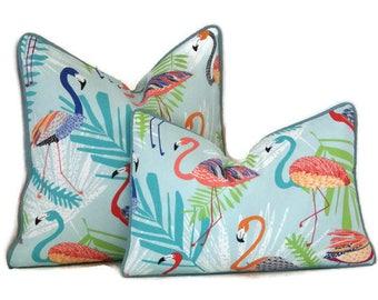 Flamingo Outdoor Lumbar Pillow Cover-Tropical Print Pillow Cover-Aqua Lumbar Outdoor Pillow Cover-Teal,Orange,Coral,Green Pillow Cover