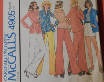 McCall's 4905 Vintage carefree shirt, top and pants or shorts pattern Size 14