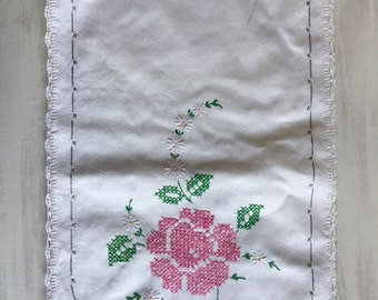 Old Fashioned Pink Cross Stitch Floral Embroidery Table Runner