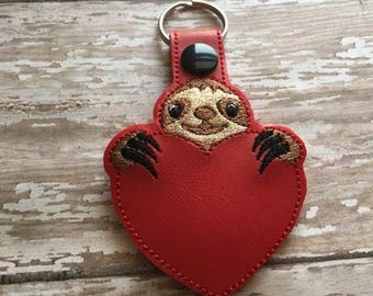 Sloth - Heart - In The Hoop - Snap/Rivet Key Fob - DIGITAL EMBROIDERY Design