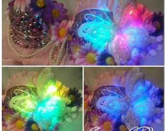 LED 32A Pink & Purple Daisy Rave Bra with matching flower headband