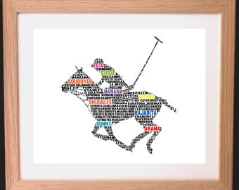 Personalised Polo Horse Word Art Gift