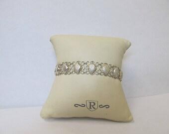Vintage Sterling Silver Seashell Bracelet W #587