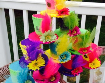 """10 Whimsical Felt Tea Party Hats with Keys & Clocks, Alice in Wonderland, Mad Hatter Decorations, Party Favors, Birthday, Shower (3.5"""" Tall)"""
