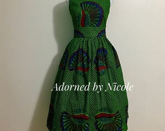 Green Shell African Print Dress