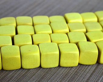20mm Canary Yellow Cube Wood Beads - Dyed and Waxed - 10 pcs.