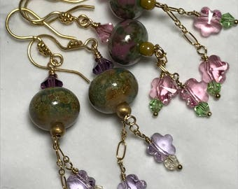 Monet's Garden lampwork, crystal and gold chain dangle earrings