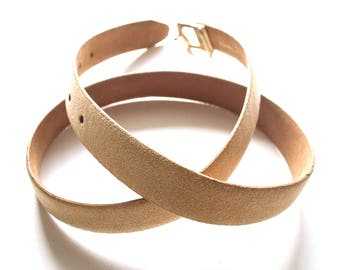 Vintage Halston 70s Suede Belt // Gold Tan Minimalist Disco Leather Belt