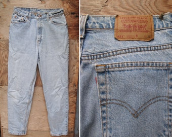 Vintage Levis 521 High Waist Tapered Fit Faded Blue Denim Jeans - Made in USA 14 Short