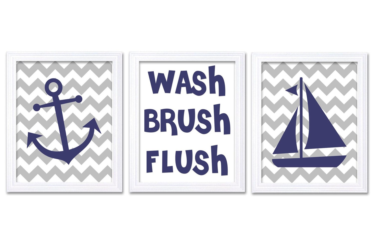 Nautical Nursery Art Bathroom Wash Brush Flush Set of 3 Print Stripe Child Kid Navy Blue Grey Wall D