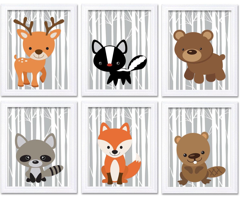 Grey Woodland Animals Woodland Nursery Art Print Set of 6 Owl Racoon Beaver Deer Skunk Fox Trees Wil