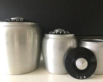 KROMEX Spun Aluminum Canister Set Flour Coffee Tea set of three