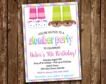 Slumber Party, Sleepover, Pajama Party, Birthday Party Invitation - Digital or Printed, Free Shipping!