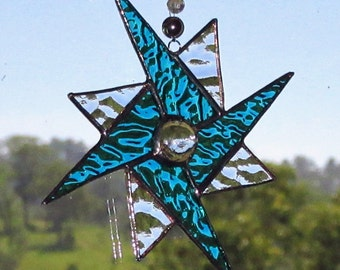 Aqua Clear Textured Glass Geometric Star,Stained Glass Suncatcher, Geometric Spinner,Leadlight Suncatcher, Hancrafted, Free domestic postage