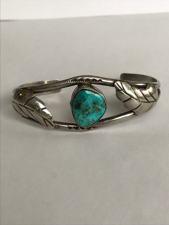 Navajo Turquoise Sterling Cuff Bracelet Dead Old Pawn 925 Silver Blue Vintage Tribal Native Jewelry Birthday Anniversary Graduation Gift
