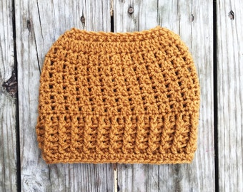 Ready To Ship Honey Brown Messy Bun Crochet Hat Beanie Women's Crochet Hat Winter Accessories Gifts For Her