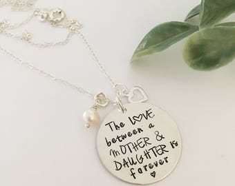Stamped mother daughter sterling silver necklace