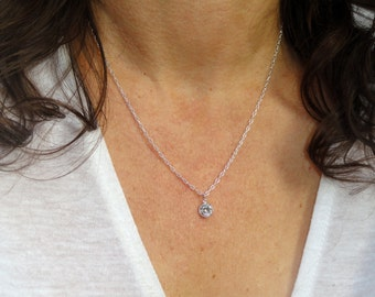 Sterling silver cubic zirconia necklace, Silver crystal necklace, Cubic Zirconia necklace, Silver cz necklace, Gifts
