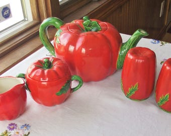 Vtg Ceramic Set of Tomato Teapot, Sugar/Creamer, Salt/Pepper - Made in Japan, Vtg Tomato Teapot