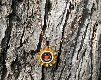Ladybug flower necklace