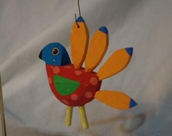 Vintage Christmas Ornament Southwest Flair Wood Bird