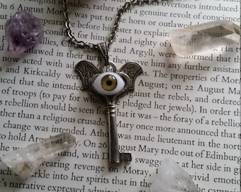 Magical Protector Eye/ Steampunk Key Necklace