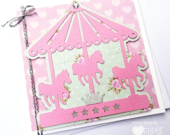 Pink Carousel greeting card. Birthday card, new baby girl card. Carnival pony, pink circus. Pink, green and silver.