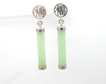 "Sterling Silver/925 Green Jade Chinese Dangle Drop Earrings-1.3"""
