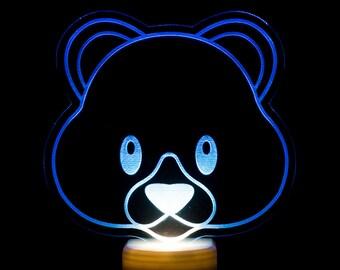 Teddy Bear Emoji Night Light - Bear Face Emoji LED Nightlight - Cute Bear Emoji Light -Teddy Bear Light