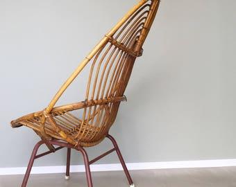 Vintage Basket Chair Rattan, Hoop chair