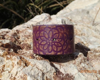 purple leather flower cuff/handmade leather cuff/flower bracelet/painted leather bracelet/womans bracelet/girl bracelet/leather jewelry/C232