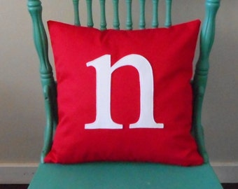 Initial Pillow Cover, Small Letter, Lots of Colors, Lowercase Monogram, Housewarming gift, Home Decor, Personalized Decorative Cushion