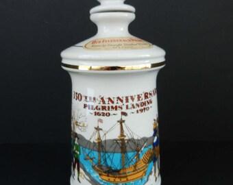 Commemorative Old Fitzgerald Bourbon Whiskey Decanter, 350th Anniversary of the Pilgrims' Landing, Thanksgiving Decor, Stitzel Weller