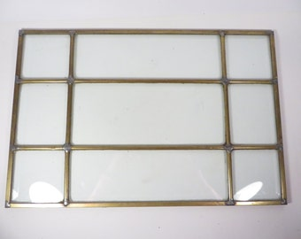 Mid Century Brass Beveled Glass Paned Window - Small Brass and Glass Window