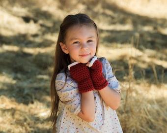 Childrens Elf Gloves, Fingerless Gloves, Christmas Gloves, Santa Costume, Mrs. Clause Gloves, Girls Gloves, Red Gloves, Elf Costume