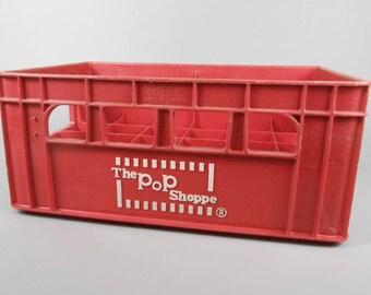 Pop Shoppe Soda Crate Red Plastic Crate Made in Canada