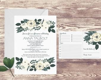 Printed Bridal Shower Recipe Card Invitation, Recipe Book, Recipe Cards for Couples Shower, Bridal Shower Invitation, Kitchen Shower Invite