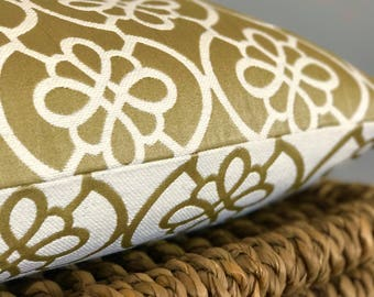 Gold and Cream Decorative Pillow Cover~Geometric Pillow~Yellow Pillows~Floral Pillows~Lumbar Pillow~Other Sizes Available~Invisible Zipper