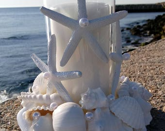 Wedding Centerpiece - Beach Decor - White Shell Wreath With Candle (LSC010)